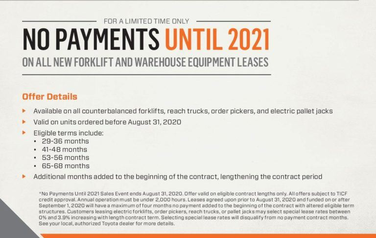 No interest or no payments 2020 No Payments Campaign Flyer Digital cropped 768x487   New and Used Forklifts in Ohio. Williams Toyota Lift