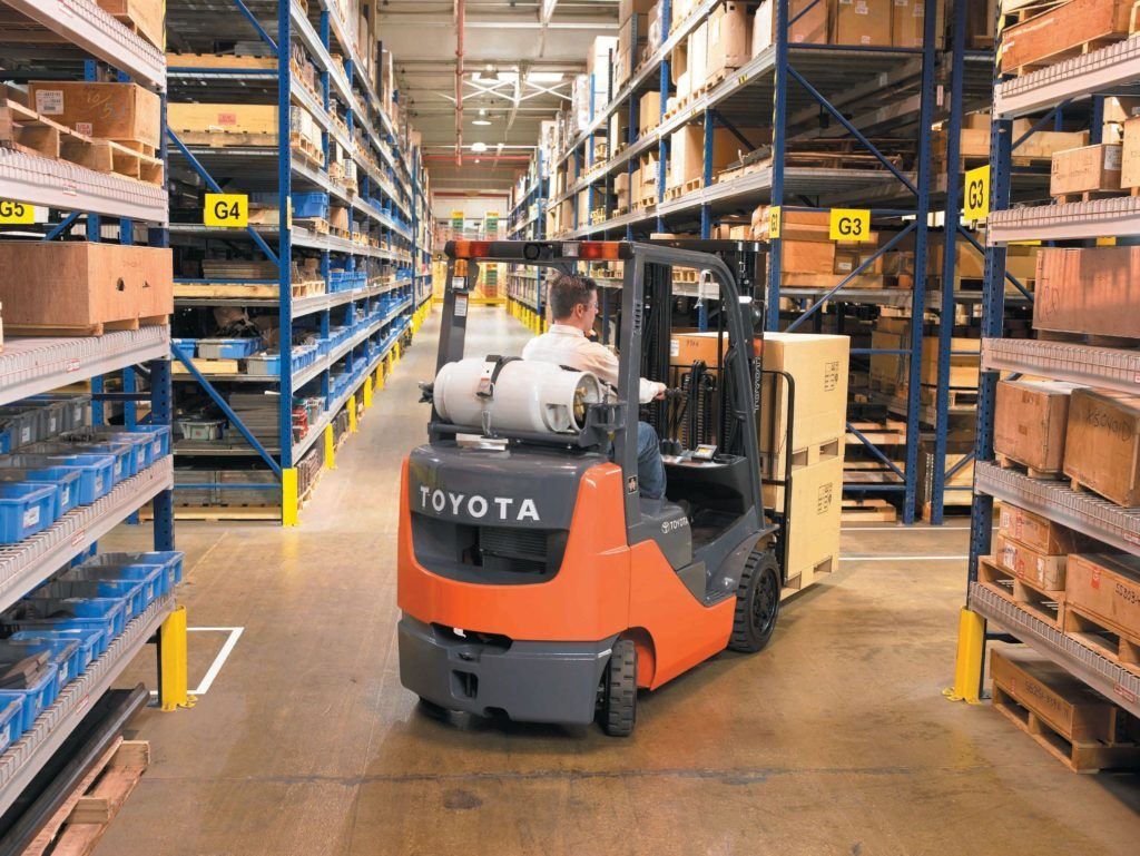 Forklift Fuel Options and Buying Considerations IC Cushion warehouse jpg 1024x769  toyota, material handling equipment, lift truck, gasoline, fuel, forklift, equipment New and Used Forklifts in Ohio. Williams Toyota Lift