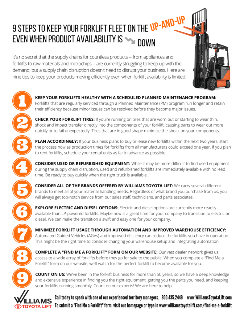 Nine Steps to Keep Your Forklift Fleet on the Up and Up Keep Forklift Fleet on Up and Up Flyer 791x1024   New and Used Forklifts in Ohio. Williams Toyota Lift